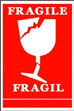 VF Fragile (Broken Wine Glass Symbol) Handling Label 100mm x 150mm  Rolls of 250